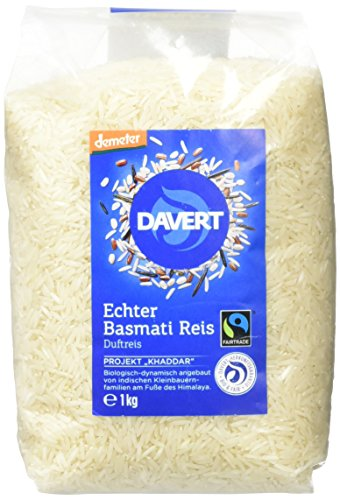 Davert Demeter Echter Basmati-Reis, weiß, 1er Ram (1 x 1 kg) - Bio