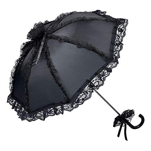 Preisvergleich Produktbild Damenschirm Malisa schwarz Satin für Gothic Theater - von Lilienfeld Design