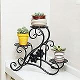 JU Blumenregale im europäischen Stil Schmiedeeisen Balkon Fensterbank Schreibtische Multi - Fleischpflanzen Kleine Blumentöpfe Multi - Storey Flower Racks,Schwarz