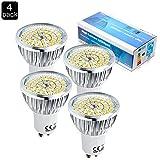 ELINKUME 4 x 6W Super Bright GU10 Spotlight LED Light Bulb,Warm White 3000K 60W Equivalent, Energy Saving, Perfect for Replacing 60 Halogen Bulbs