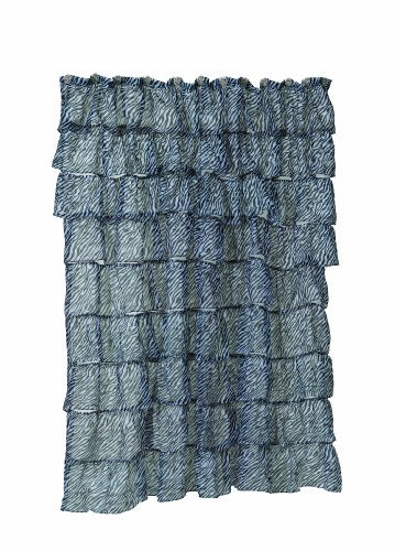 Carnation Home Fashions Carmen Crushed Voile Fabric Shower Curtains with Ruffled Tiers, Zebra, 70 by 72-Inch by Carnation Home Fashions -