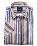 Savile Row Men's Multi Stripe Short Sleeve Casual Slim Fit Shirt Large