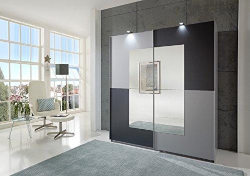 Wimex 248771 Kleiderschrank, Holz, Front mit Aluminium Nachbildung und Spiegel, anthrazit, 180 x 64 x 198 cm