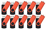 FEBNISCTE 10 Pack 1GB Red Swivel USB 2.0 Flash Memory Stick