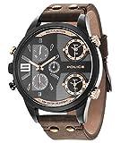 Police Herren Uhr Analog Quarz mit Leder Armband 14374JSU/12