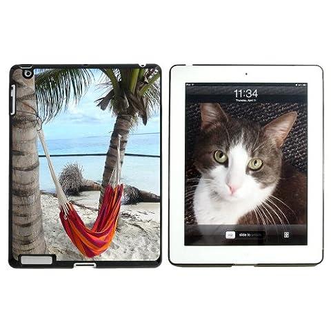 Tropical Beach Hamac–Palm Trees Océan rigide à clipser–Coque de protection pour Apple iPad 234–Noir