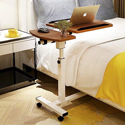 FakeFace Computertisch mit Rollen Laptoptisch Höhenverstellbar Laptopständer Holz Drehbar PC-Tisch Ständer für iPad Tablete Mobilphone, Laptop Tisch für Bett Sofa Rollstuhl, HxBxT: 96 x 60 x 40 cm