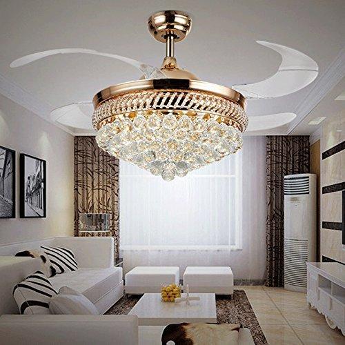 MOMO Personifizierte dekorative Beleuchtung Einfache europäische Art-Blatt-Fan-Lichter, moderner minimalistischer Leuchter-Deckenventilator, Wand-Steuerung,Gold Fernbedienung (Wand-abziehbilder Tiffany)