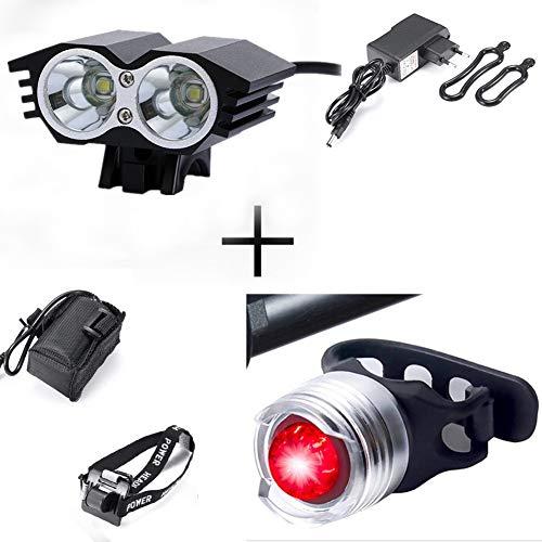 XMH phare de bicyclette, phare de bicyclette avant a mené les lumières de bicyclette de projecteur 2 a mené 5000 LM Modes imperméables de 4 avec la lumière arrière pour l'alpinisme, cyclisme, camping (2 a mené le noir)