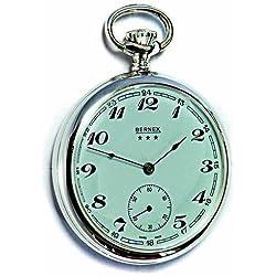 Montre à Gousset Bernex (fabriquée en Suisse Argent sterling massif Open Face montre de poche mécanique