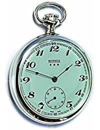 Bernex Swiss Made Mechanical Solid Sterling Silver Open Face Pocket Watch