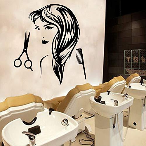 Friseur Aufkleber Haarschnitt Damen Vinyl Wandaufkleber Friseursalon abnehmbare Wand Kunst Friseur dekorative Accessoires Wand 43 * 60cm -