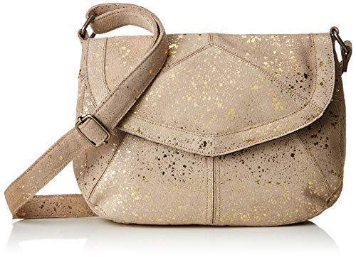 Pieces Pcbeatrice Leather Large Cross Body, Sacs bandoulière femme, Or (Gold Colour), 5,5x26,5x21,5 cm (B x H T)