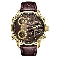 ساعة من جيه بي دبليو للرجال باصدار محدود، جي 4 19 بالالماس، تبرز ثلاث مناطق زمنية، جلد نعام مزخرف بني
