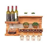 Xing Hua home Weinregal Restaurant Holz Becherhalter, Wohnzimmer Küche Wand Rack Rack Weinregal, Bartheke Wein Ausstellungsstand (Color : Wood Color, Size : 70*15*37cm)