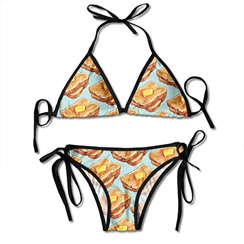 (Hoklcvd Women Sexy Swimwear Set Toast and Butter Tie Side Padding Bathing Swimsuit)