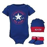 Produkt-Bild: Converse Babykleidung Set Erstausstattung Baby Geschenkset Body Strampler Mütze Socken 3er Gift Set Blau Gr. 0-6 Monate