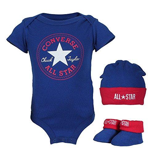 g Set Erstausstattung Baby Geschenkset Body Strampler Mütze Socken 3er Gift Set Blau Gr. 0-6 Monate ()