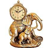 JJH-ENTER Estilo europeo sala de estar creativa Decoración de escritorio / elefante de lujo retro gran reloj de cuarzo tranquilo