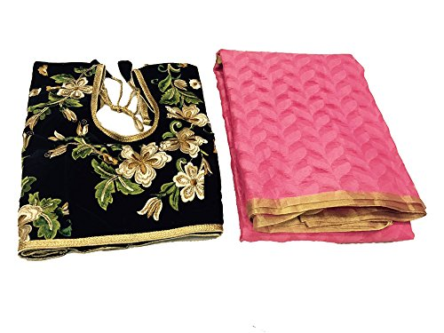 Clickedia Womens Heavy Patola Silk Pink Saree with matching blouse pc