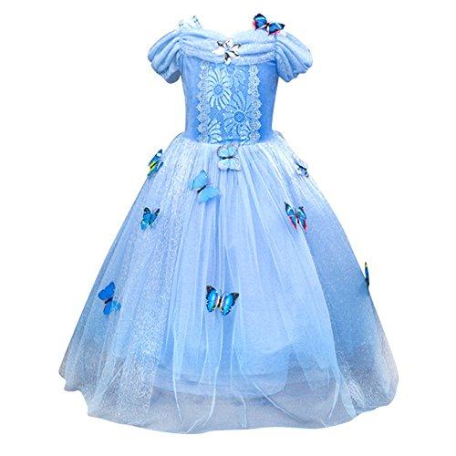 Le SSara Princesa de las niñas de Navidad disfraces cosplay vestido de mariposa (110, blue)