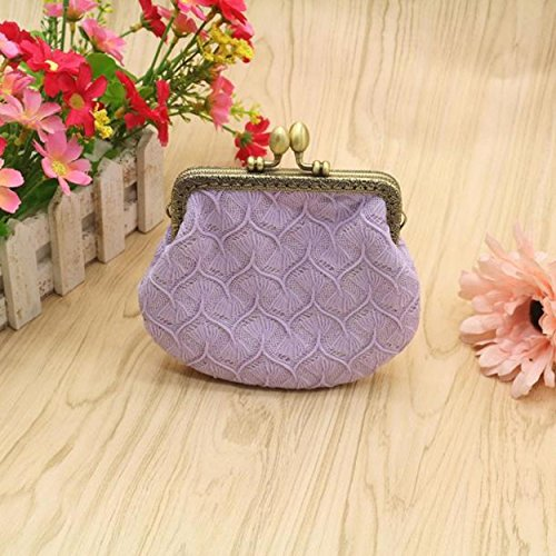 Yogogo Frauen-Dame-Retro Vintage kleine Mappe Haspe Tasche Clutch Bag (Rosa) Lila