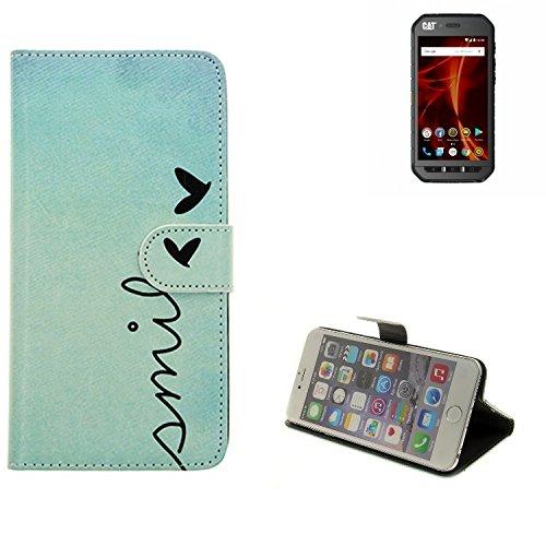 K-S-Trade® Für Caterpillar Cat S41 Dual-SIM Hülle Wallet Case Schutzhülle Flip Cover Tasche Bookstyle Etui Handyhülle ''Smile'' Türkis Standfunktion Kameraschutz (1Stk)