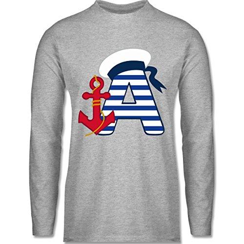 Shirtracer Anfangsbuchstaben - A Schifffahrt - Herren Langarmshirt Grau Meliert