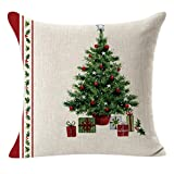 Luckycat Weihnachten Kissen Weihnachten Leinen Platz werfen Flachs Kissen Fall dekorative Kissen Kissenbezug (A)