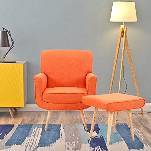 Designer-Sessel mit Hocker, schlicht, modern, Stoff, Sessel mit Hocker fürs Wohnzimmer Modern Orange (Moderne Sessel Und Hocker)