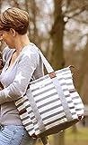★ KIDS Journey ★ modische 5-teilige Wickeltasche, Babytasche, Windeltasche, SYLT grau-weiss, Material: Cotton Canvas Baumwollsegeltuch -