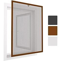 Sol Royal - Mosquitera para ventanas - 120x140 cm - Adaptable de aluminio - Montaje fácil - Marrón