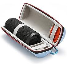 Funda de Transporte Rígido para JBL Flip 4 / JBL Flip 3 Altavoz Bluetooth portátil. Compatible con Cable USB y Cargador de pared-Azul