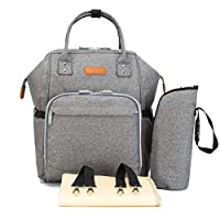 Diaper Bag Baby Backpack with Changing Pad, Insulated Cooler Pocket for Bottle Storage, Stroller Straps, Best Bags for Girl or Boy, Mom or Dad