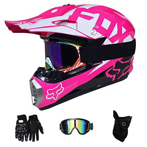 GUOGUO Erwachsener Offroad Helm D.O.T Certified Dirt Bike Motocross ATV Motorrad Offroad Matte schwarz grün Spark (4 Teile Set),Pink,XL -