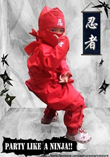 Kinder Halloween Ninja Kostüm, Samurai Ninja Uniform (Rot, 2L- Large (4.26-4.59ft))