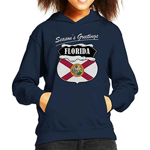 Seasons Greetings Florida State Flag Christmas Kid's Hooded Sweatshirt (State Sweatshirt Flag)