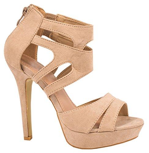 Elara Damen Pumps | Moderne Cut Out Stilettos | Wildlederoptik High Heels | chunkyrayan LL85-Beige-37