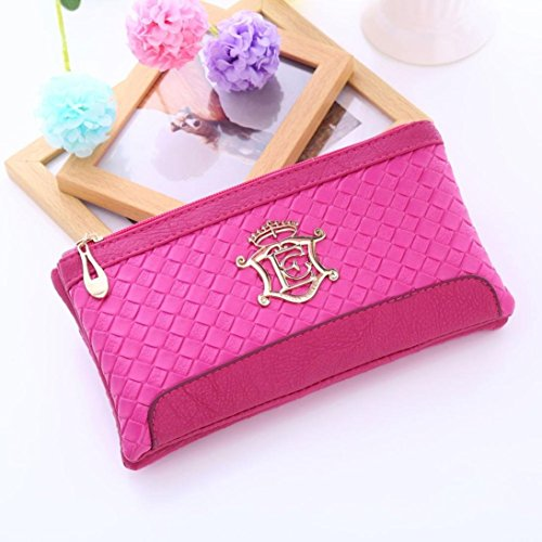 Yogogo Femmes épaule Messenger Bag Weave Motif Portefeuille Sac à main Rose vif