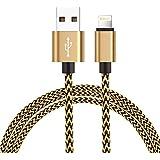 Câble iPhone Lightning, H quadratique en Nylon Série de[Garantie à Vie]-pour iPhone 7 / 7 plus / 6s / 6s plus / 6 / 6 plus / SE / 5s / 5c / 5, iPad 2 3 4 Mini, iPad Pro Air & more - 1 m / 3.3ft Gold