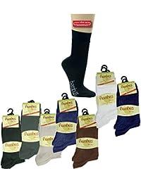 6 Paar Gesundheits Bambus Socken ohne Gummidruck normallang mit Extra breitem Piquebündchen für eine gute Durchblutung Größe 39/42 Farbe Schwarz