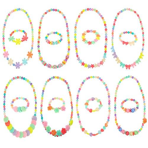 8 Set Prinzessin Halskette und Armband Baby Mädchen Kostüm Schmuck Kleinkind Kinder Dress up Schmuck Party Favors (Party-perlen-halsketten)
