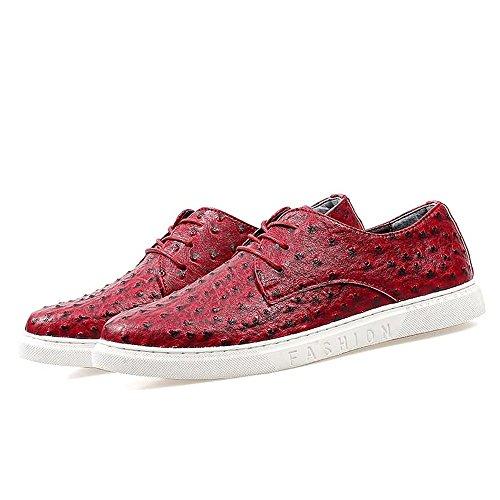 Shufang-shoes,,, 2018Herren New Loafer Wohnungen, Drive Herren Schlupfschuhe Casual Style The British Fashion Trend ist Ultra Dünn Low Top Band Flach Boot Mokassins, Rot, UK 8 / EU 42 - 8 Band-boot