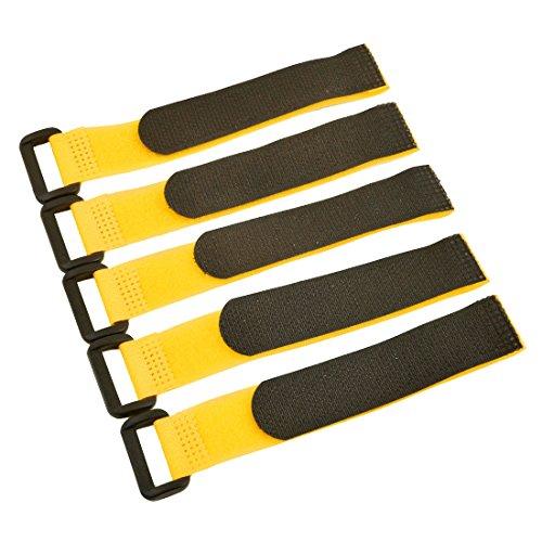 Sourcingmap® Lot de 5 Sangles de Fixation détachables pour câble 20 x 200 mm Jaune