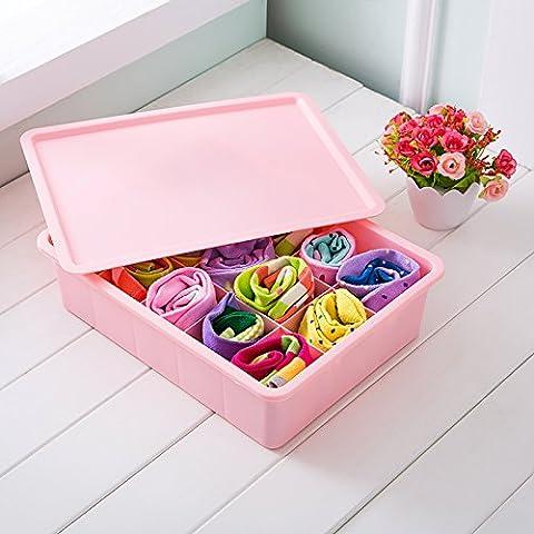 QUS (Stadt) Kunststoff Kunststoff Unterwäsche, Socken, BHS, Schubladen, Desktop Aufbewahrungsboxen, Schublade Typ Aufbewahrungsboxen, drei Sets von Haushalt, mit Pink Socken, Fünfzehn Squares