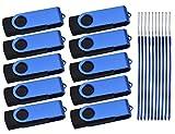 USB Stick 1GB 10 Stück - USB Flash Laufwerk - Kepmem Tragbar Blau Rotate Datenspeicher