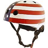 kiddimoto 2kmh018s - Design Sport Helm Stars und Stripes, Easy Rider S für Kopfumfang 48-53 cm, 2-5 Jahre