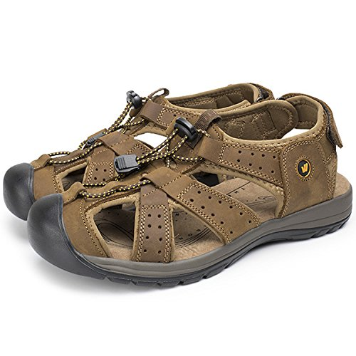 Oasap Men's Genuine eather Closed Toe Velcro Beach Outdoor Flat Sandals Deep Brown