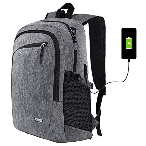 Rucksack Herren,CASFANSTA Professioneller Laptop Rucksack mit USB-Ladeport ,Leichte Laptoptasche Anti-Diebstahl-Schulrucksack für Frauen und Männer Jungen Teenager passend 15,6 Zoll Business-Rucksack