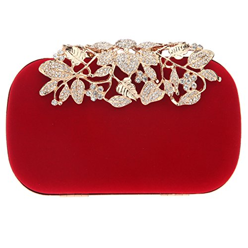 Bonjanvye Glitter Velvet Flower Clutch Daily Handbag for Girls Multicolor Rosso